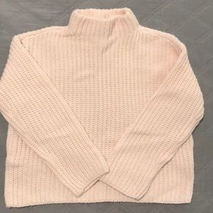 F21 pink knit sweater with low turtle neck